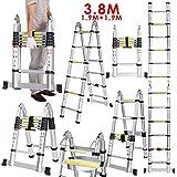Escalera Telescópica de Aluminio 3.8 Metros 1.9M+1.9M 16 Peldaños Carga de 150 KG