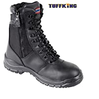 Black Zip Up High Leg Steel Toe Work Safety Boots 9108 Tuffking Boot UK4-13 (UK 10)