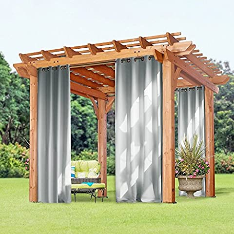 Outdoor Blackout Curtain for Porch - PONY DANCE Top Eyelet Thermal Insulated Outdoor Indoor Curtains Panels / Fade & Mildew Resistant & Waterproof, Single Piece, Width 52