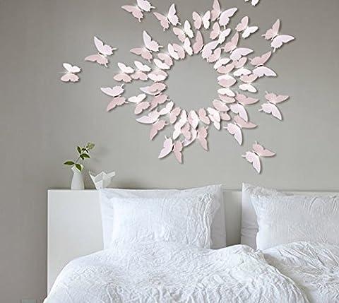 Extsud 12 Pcs 3D Papillons Stickers Muraux Stiker Mural Autocollants