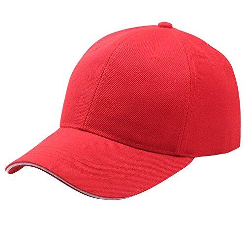 Baseball Cap Basecap Piebo Unisex Baseball Kappen Baseball Mützen für Draussen Sport oder auf Reisen Reine Farbe Baseboard Baseballkappe Kappe Mütze (Rot) Rote Mütze
