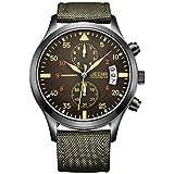 JEDIR Reloj analógico Hombres Cronógrafo cuarzo minimalista con fecha correa de cuero marrón