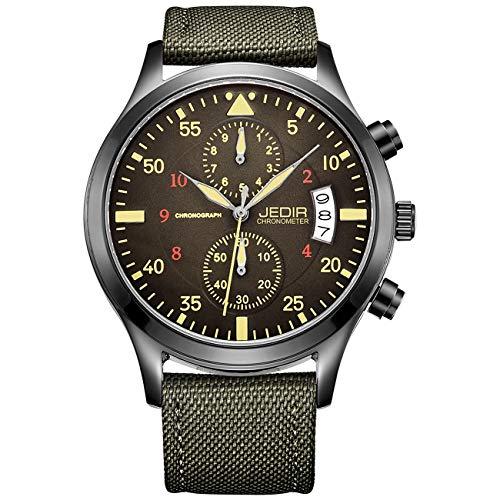 JEDIR Herren Uhren Chronograph Quartz Armbanduhr Analog Number Dial mit Datumsfenster Metallgehäuse Green Segeltuch Strap (Glühen T-shirt Dunkles Sie)