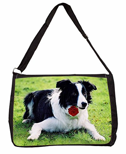 Border Collie Dog with Red Rose Large 16