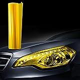 JZK® 30 x 100cm vinilo film faro luz pegatina adhesivo para coche motocicleta camión faros niebla mparas de cola ligero (Amarillo)