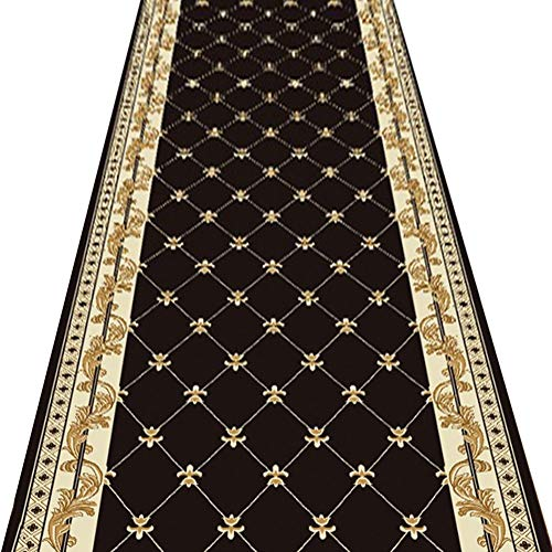 ZENGAI-Tapis de couloir Antidérapant Foyer Tapis Escaliers Salon Lavage en Machine Taille Personnalisable, Polyester (Couleur : B, Taille : 0.8x4m)