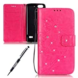 Huawei Honor 4C / Huawei G Play Mini Custodia Cover, Huawei Honor 4C Custodia in Pelle Portafoglio, JAWSEU [Shock-Absorption] 3D Goffratura Fiore Farfalla Wallet Leather Flip Cover Custodia for Huawei Honor 4C Copertura Protectiva Bumper con Morbido Silicone interno Case e Porta Carte di Credito Custodia Huawei G Play Mini Case Portafoglio Custodia Pelle Magnetica Supporto Custodia Cover per Huawei Honor 4C - Diamante Fiore, Rosa caldo
