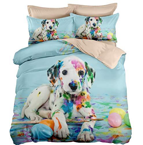 DIY Duvetcover Terrific Artist Dog Baumwoll-Mikrofaser Weiche 3-teiliges Bettwäsche-Set für King-Size-Betten mit 2 Kissenbezügen Queen(90