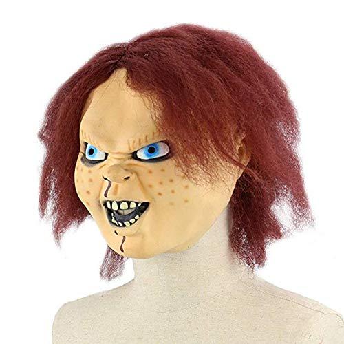 qiumeixia1 Gesichtsmaske Ungiftig Requisiten Party Cosplay Scary Doll Spiel Halloween Mit Haar Weiche Kostüm Festival Vollen Kopf - Scary Doll Halloween Kostüm