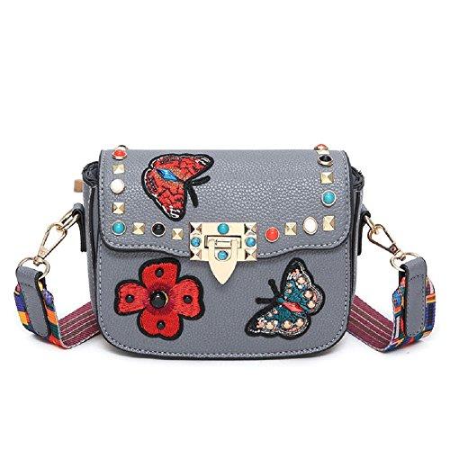 Gestickte Messenger Tasche (GZHOUSE Stilvolle PU-Leder gestickte Kreuz Körper Schulter Messenger Bag Handtasche mit bunten breiten Strap)