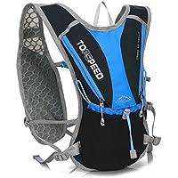 LLFS mochilas de hidratación de nailon al aire libre, bolsa de hidratación, mochilas Marathon, bolsa de agua para correr, senderismo, ciclismo, escalada, camping, carreras, color azul y negro, tamaño talla única