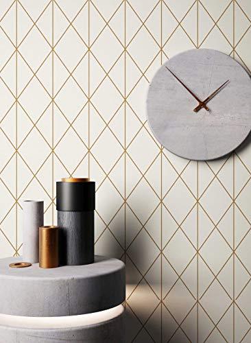 NEWROOM Tapete grafisch Metallic Geometrisch Linien Grafik Vliestapete Creme Vlies Modern inkl....