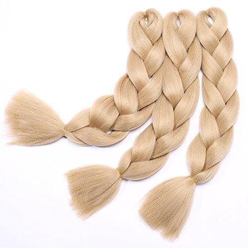 Extension Treccine Capelli Finti per Trecce Braiding Braids Hair Kanekalon Extensions 100g/pcs Confezione da 3 Ciocche 24# Biondo Chiaro