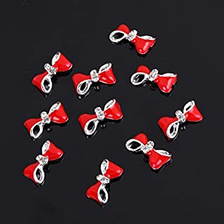 Silver Red Bow Tie 10 pieces Silver 3D Alloy Nail Art Slices Glitters DIY Decorations High Quality And Useful