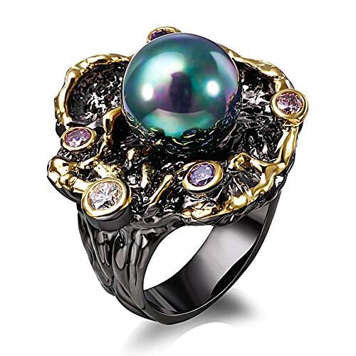 LILIMO Ringe Vintage Schmuck Mode Gold Hochzeit Schwarz-Gold-Ring Grüne Perle Zircon Frauen Schwarzen Kupfer Breiten Ring Größe 6-9,7 (Gelbe 14kt Gold Engagement Ring)