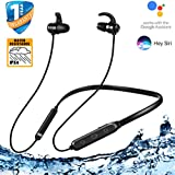 JEDX Neckband Earphones with Wireless Headphone Mic, BT Headphones with Active Noise Cancellation and IPX4 Certified Splash Resistance (Black)