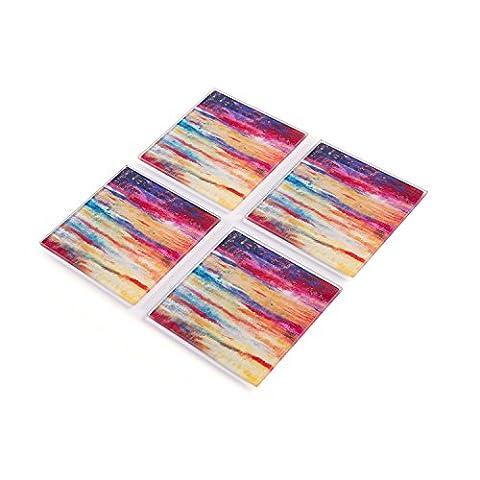 Set of 4 Premium Tempered Glass Coasters 10 x 10 cm Nel Whatmore Colourful Stripes Non slip