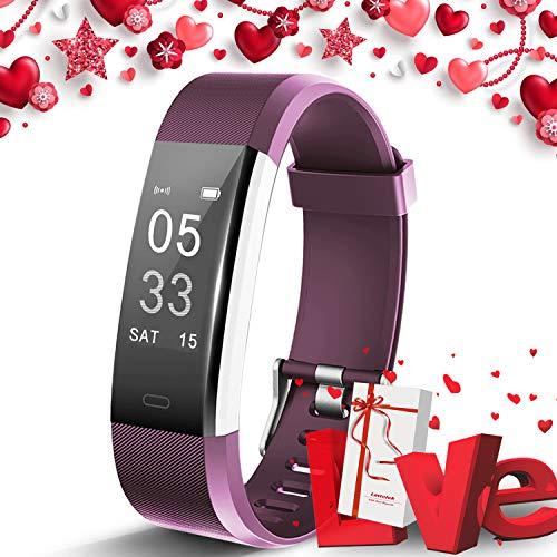 Lintelek Fitness Armband Fitness Smartwatch wasserdichter IP67-Schrittzähler Aktivitäts-Tracker für Herzfrequenzmonitor mit angeschlossenem GPS-Tracker, Schlafmonitor,Fitness Uhr mit Geschecke Box