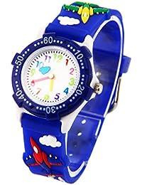 Montre Garçon Pédagogique Enfant avec 3D Bracelet en Caoutchouc Motif Quartz Cadran Blanc - Bleu foncé Avion
