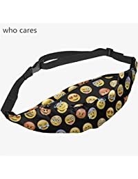 Buyworld 3D Printing Black Emoji Zip Waist Bag Pouch Fanny Pack Belt Bags Men Pocket Fashion Bolso Travel Unisex...
