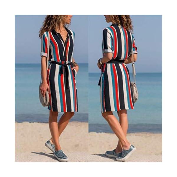 New Womens Stripe Print Dress Sexy Bohemia Long Sleeve Mini DressXinxinyu Casual Comfortable Soft T Shirt Blouse