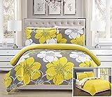 Chic Home 3Piece Woodside Astratto Scala Grande Floreale Stampato Set Copripiumino con 2federe, King, Yellow by
