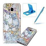 Coque en Silicone pour Samsung S8 Plus Marbre Motif, Herzzer Ultra Mince Glitter Paillette TPU Souple Housse Etui de Protection Anti Choc pour Samsung Galaxy S8 Plus - Bleu Or