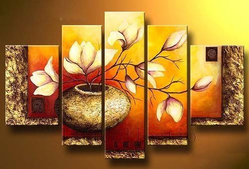 wieco-art-golden-bottle-elegent-flowers-100-hand-painted-modern-canvas-wall-art-wood-framed-on-the-b
