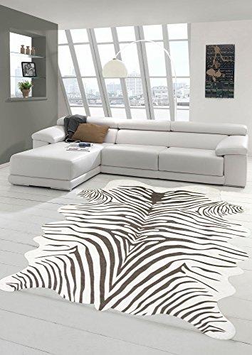 Merinos Zebra Teppich Fellimitat Zebrafell Teppich Kunstfell Kuhfell Optik in Beige Größe 75x100 cm