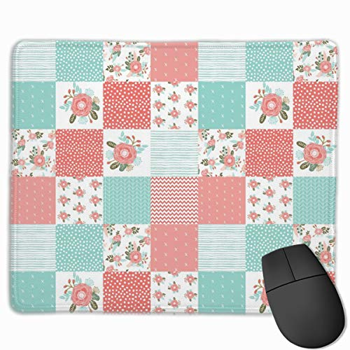 Squares Cute Cheater Quilt Blossoms Blooms Girls Sweet Floral Blanket Baby Blanket Cheater Quilt Wholecloth Girls_50023 Mouse pad Custom Gaming Mousepad Nonslip Rubber Backing 9.8