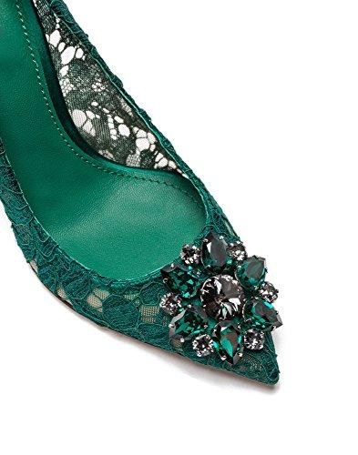 uBeauty - Tacchi alti sexy del merletto - Magnifico Scarpe col Tacco - Tacchi di nozze - Scarpe da sposa Verde