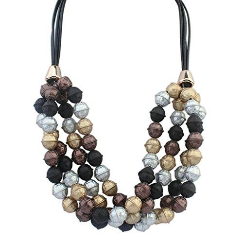 Epinki Damen Vergoldet Halskette, Damenkette Statementkette Choker Multi Strand Rope Bells (Mädchen Kostüm Jägermeister)