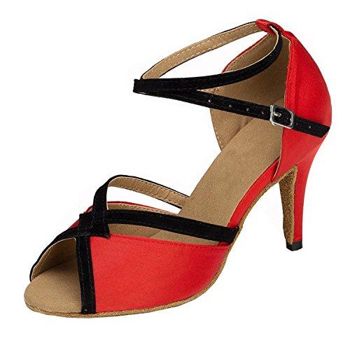 Minitoo Donna Nuovo Raso Latino scarpe da ballo sera scarpe Red