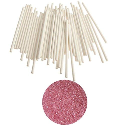 (yagma Stiele für Lollies - 50 Stück - 15 cm weiß incl. Glimmerzucker in wunderschön leuchtender Farbe (Rosa/Pink))