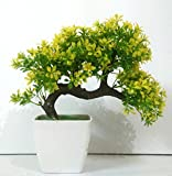 #3: hyperboles Bonsai Wild Plant Artificial Plant with Pot(26 cm, Yellow)