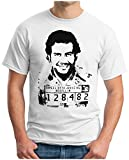 OM3® - Pablo Escobar Prison - T-Shirt Cocaine Colombia Miami Drug Lord Dope Kokain USA Geek Fun, XL, Weiß