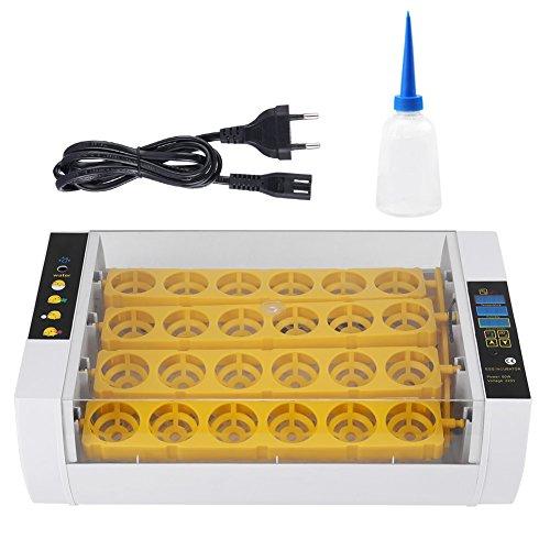 EBTOOLS incubadora de Huevos, incubadora Aparato Huevo automático para 24Huevos Calentador de Couver gráfico Digital Control automático Enchufe estándar Europea Huevos Aves Pollo Pato