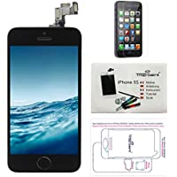 Display LCD iPhone 5S Black - Trop Saint ® Replacement Screen With a Magnetic Project Map, Tutorial, Tools and Protective Film