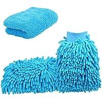 [Große Version Handtuch] Tougo 2 Stücke Wasserdicht Mikrofaser Waschhandschuh + 1 Stück Microfasertuch, Chenille Mikrofaser Waschen Handschuhe für Auto oder Haushalt Reinigung,Himmelblau
