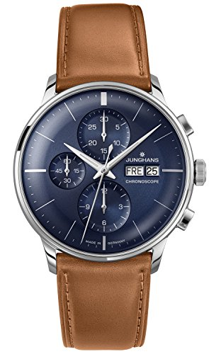 Junghans Meister Chronoscope Automatic Watch, J880.1, Blue, 027/4526.00