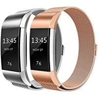 Goosehill Fitbit Charge 2 Strap Bands Milanese Stainless Steel Adjustable Replacement Accessories Bracelet Strap with Magnetic Metal Lock for Fitbit Charge 2