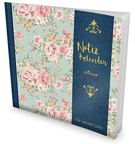 GOCKLER® Notiz-Kalender: Universaler Tagebuch-Kalender || 1 Zeile pro Tag + Notizseiten + Glänzendes Softcover || Ideal für Geburtstage, To Do's & Termine || DesignArt.: Retro Flowers