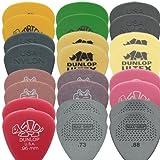 Dunlop Tortex / Nylon / Ultex / Gator / Delrin / Max Grip Plektren-Set (mittel, 2 Stück je Typ, in Plektrumdose von Dirty Riffs), 24 Stück