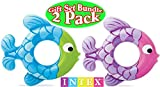 Intex Swim Along Rings Fish Blue/Green & Pink/Purple Gift Set Bundle - 2 Pack