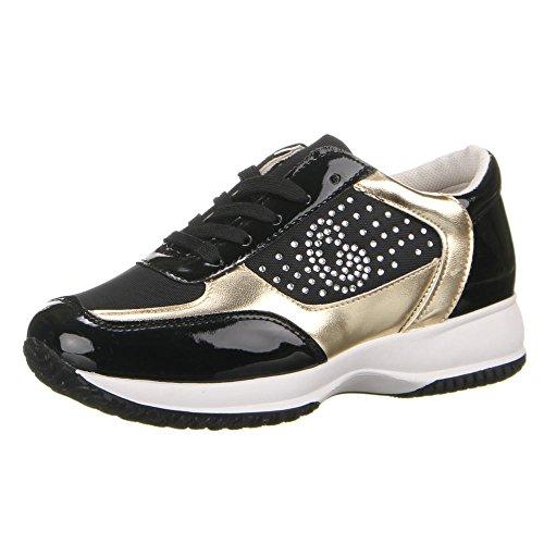 Damen Schuhe, 22-147, FREIZEITSCHUHE Schwarz
