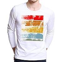 Hombre Camisas,Sonnena ❤️ ❤️ ❤️ Camisa de manga larga de la camiseta de la manga de la impresión de las camisetas de la impresión de los hombres más tamaño casual y moda estilo ropa de Actividades al aire libre (BLANCO, L4)
