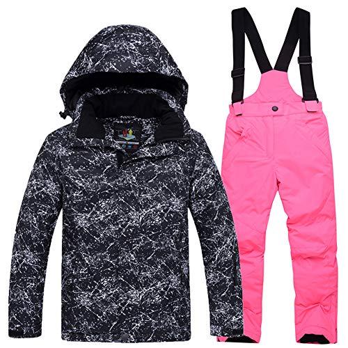 LPATTERN Traje de Esquí para Niños/Niñas Chaqueta Acolchada + Pantalones de Nieve Impermeables para Deporte de Invierno, Negro+Rosa Brillante, 5-6 años/S