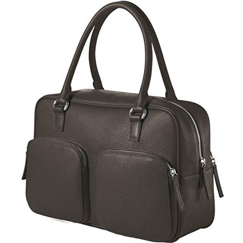 CHI CHI FAN City Bag - Graphit | Damen Echt-Leder Handtasche aus genarbtem Rindsleder von Hamburger Designer-Label | Top Qualität, Design und maximale Funktion | Für Business und Freizeit