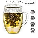 Creano Teeglas all in one, Große Teetasse mit Sieb und Deckel aus Glas, 400ml - 3