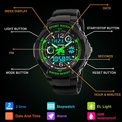 Digital Watches for Kids Boys - 50M Waterproof Outdoor Sports Analogue  Watch with Alarm/Timer/Dual Time Zone/LED Light, Childrens Electronic Shock